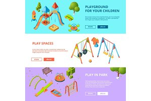 Horizontal banners set with isometric illustrations of kids playground