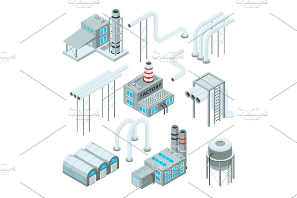 Factory Pipe And Set Of Industrial Buildings Isometric Style Pictures