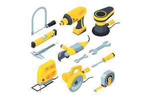 Isometric tools for construction. Vector 3d illustrations
