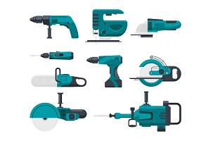 Vector illustrations of electrical construction tools