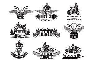 Motorbike illustrations. Logos for bike club