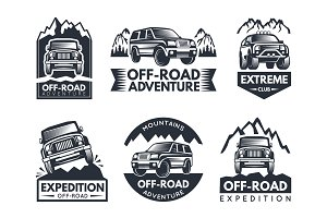 Monochrome labels set with suv cars