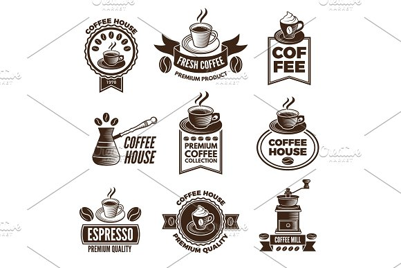 Different Labels Set For Coffee House Pictures Of Cups Of Coffee And Caffeine Beans
