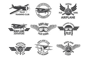 Labels design template with pictures of airplanes