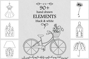 90+ Hand Drawn Vector Elements