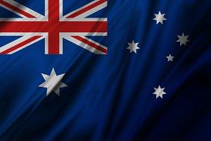 Australia flag of fabric background