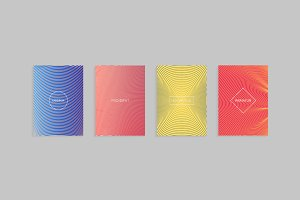 Abstract minimal covers vector design template. Set of linear geometric patterns with halftone gradients