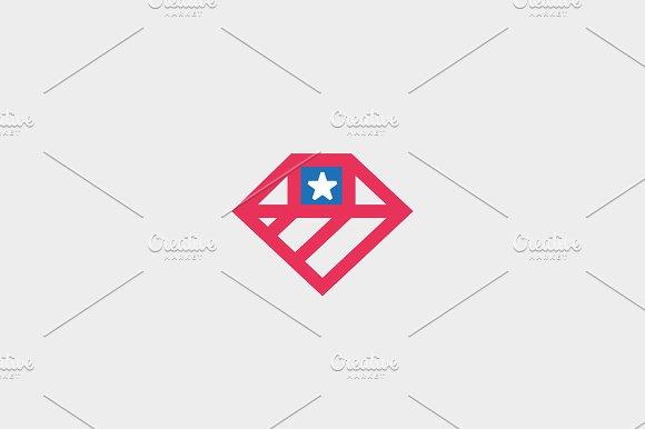 American flag diamond logo design. US national gem symbol vector logotype