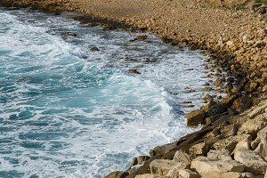 Picture of sea, coastal zone with pebbles