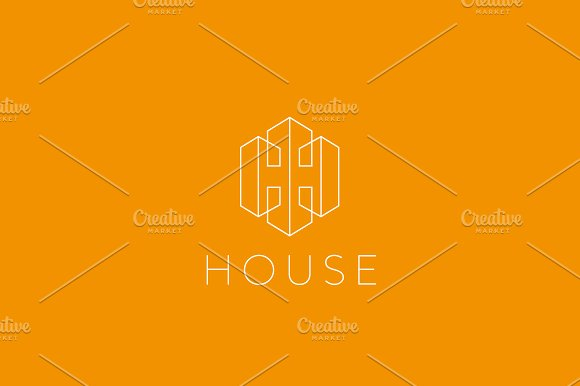 Lined letter H house logotype. Premium home building vector icon logo.
