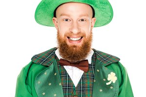 leprechaun in green costume and hat