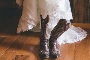 Wedding Dress & Cowgirl Boots