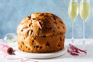 Italian festive bread panetton on a