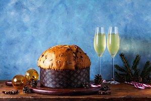 a festive sweet panettone cake on a