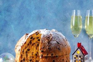 Italian festive bread panetton with