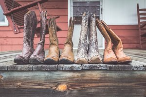 Cowgirl Boots on Porch - Front View