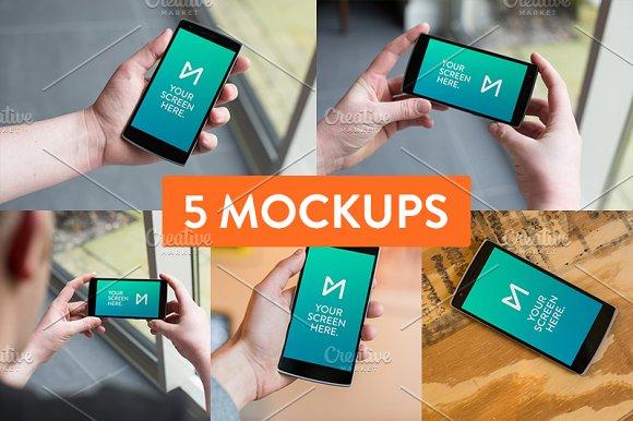 5x OnePlus One device mockup psd's