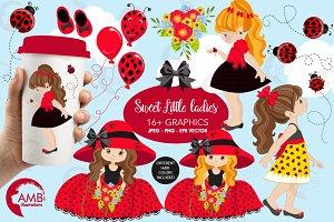 Ladybug garden girls clipart AMB1056