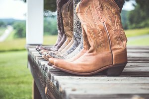 Cowgirl Boots on Porch - Side View