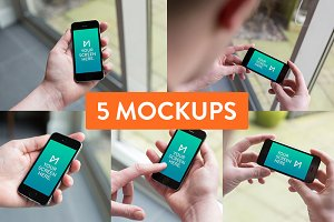 5x iPhone 5S black device mockup PSD