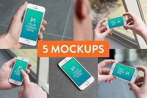 5x iPhone 5S device mockup PSD's