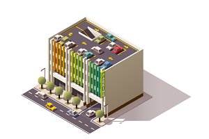 Vector isometric car park