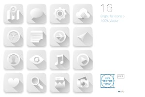 16 White Flat icons