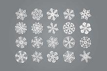 Set of twenty snowflakes