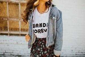 Girl Modeling Denim Jacket