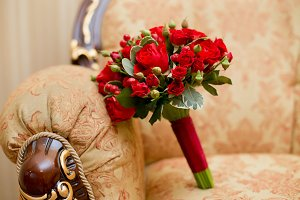 Close up of red wedding bouquet - background