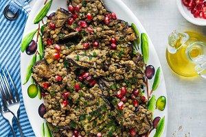 Vegan salad of lentils and eggplant