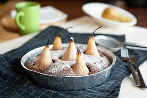 Homemade chocolate cake with pears