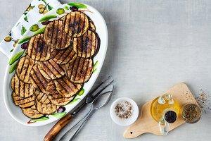 Grilled eggplants seasoned with oliv