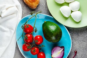 fresh ingredients for salad from avo