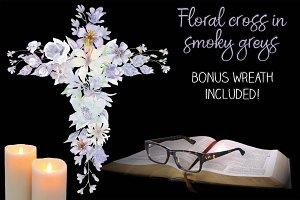 Floral cross: smoky grey watercolors