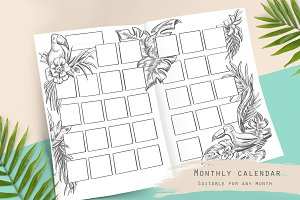 Tropical themed monthly calendar