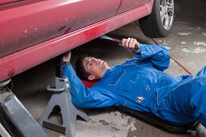 Mechanic repairing a a car
