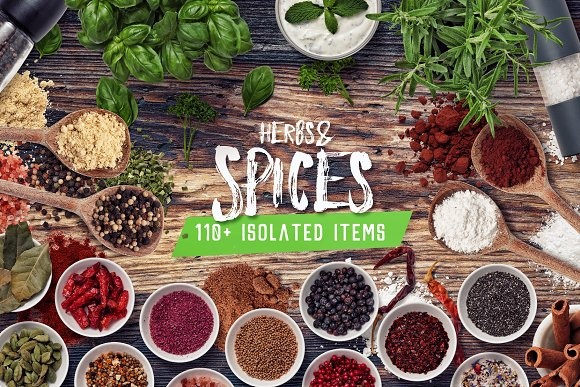Herbs & Spices - Isolated Food Items in Product Mockups