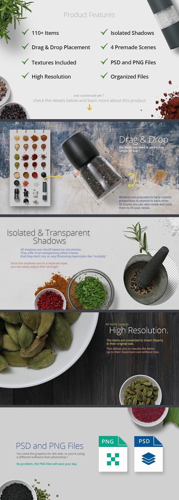 Herbs & Spices - Isolated Food Items in Product Mockups - product preview 1