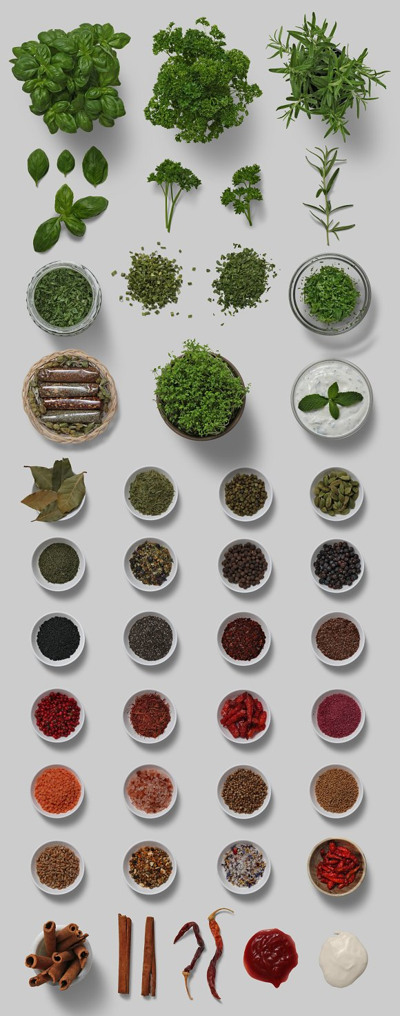 Herbs & Spices - Isolated Food Items in Product Mockups - product preview 6