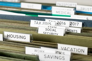 Home filing system for Social Security organized in folders