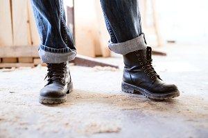 Legs of a woman worker.
