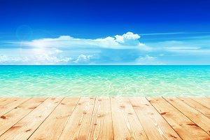 Wooden table with sea and sky