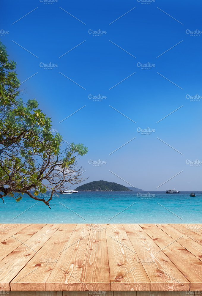 Wooden table with sea and sky - Nature