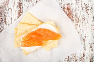 Gluten Free Crispbread, Soft Cream Cheese and Smoked Salmon