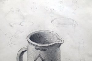 Ancient jug, academic drawing