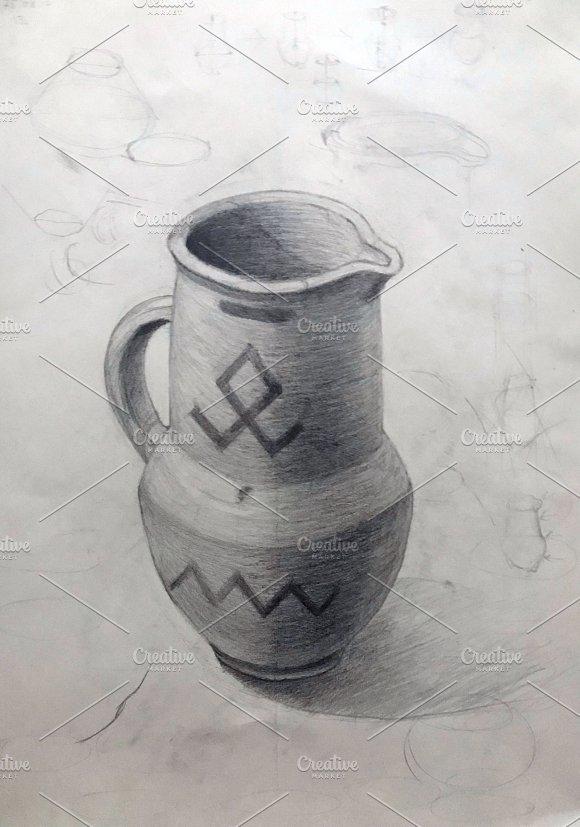 Ancient jug, academic drawing
