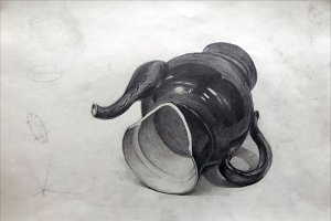 Broken teapot, academic drawing