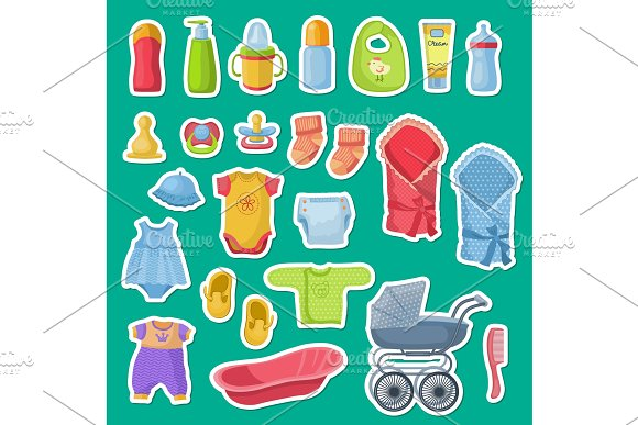 Vector Baby Accessories Stickers Isolated On Blue Background