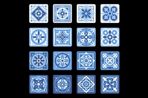 Portuguese Ceramic Mosaic Tile Set